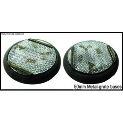 50mm Round Scenic Bases - Metal Grate - 2
