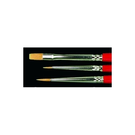 reaper 3 taklon round flat paint brush set small standard and
