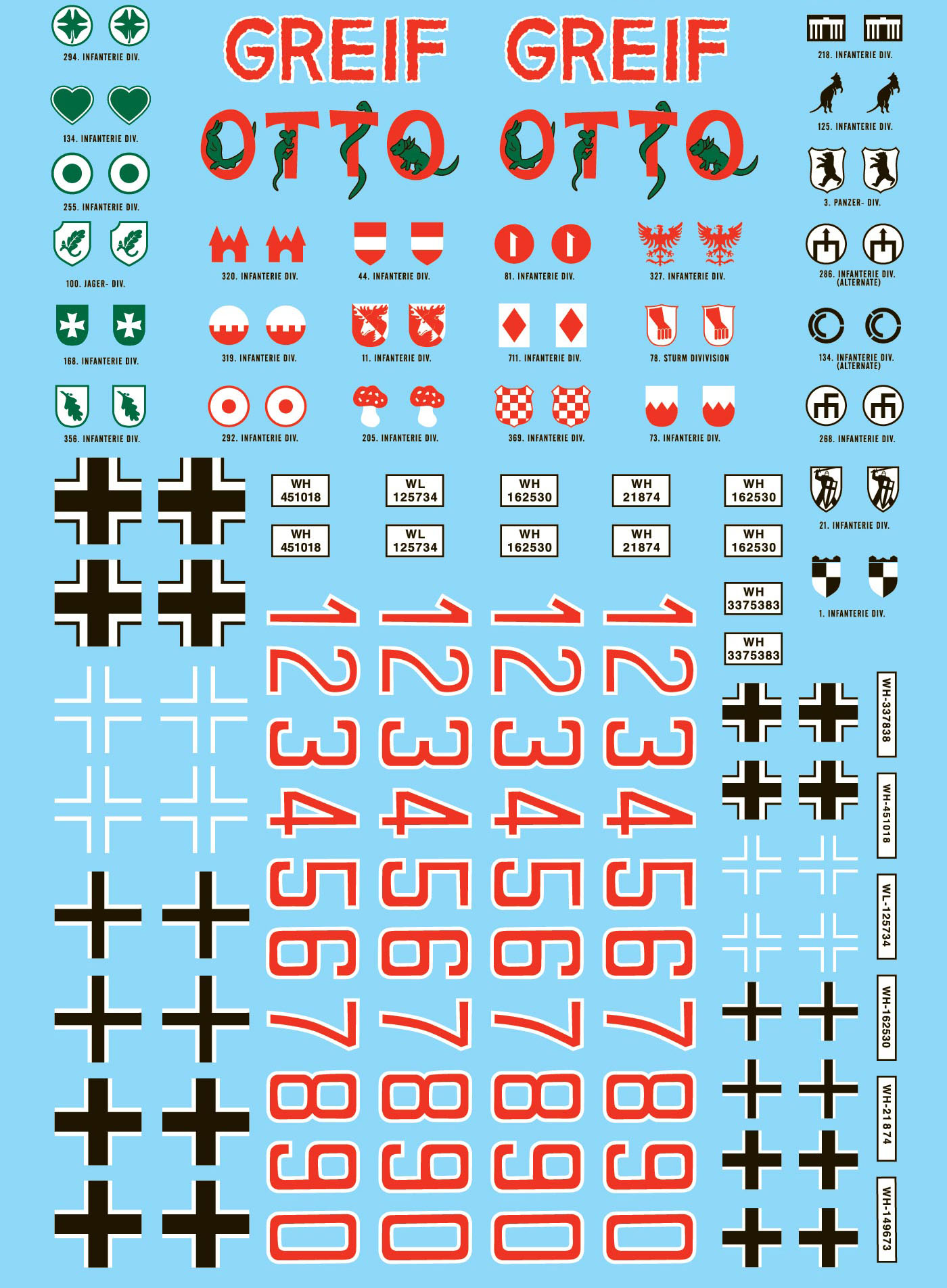 28mm WWII German Division Markings & Numbers Decals 1 for small to medium  German vehicles - Frontline-Games