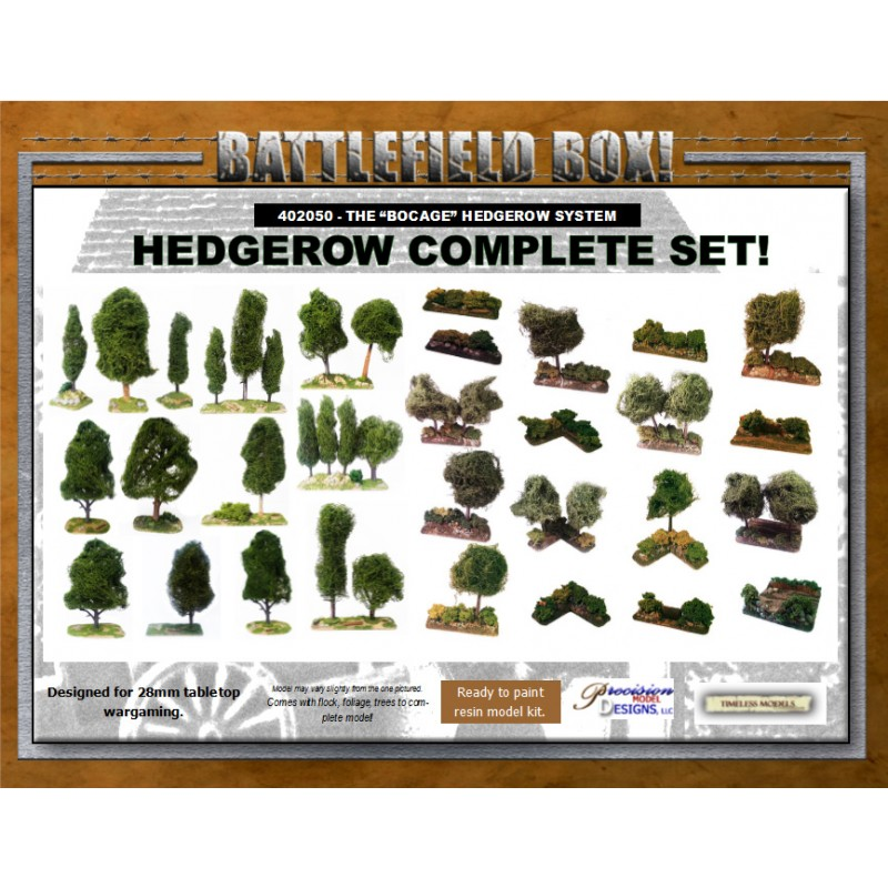 THE BOCAGE - BATTLEFIELD BOX! - COMPLETE HEDGEROW SET! - Frontline-Games