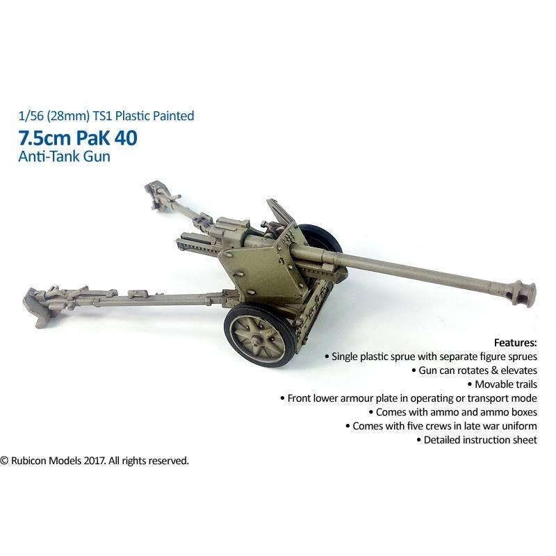 German 50 Mm Anti Tank Gun: German PaK 40 75mm Anti-tank Gun W/crew 28mm WWII RUBICON