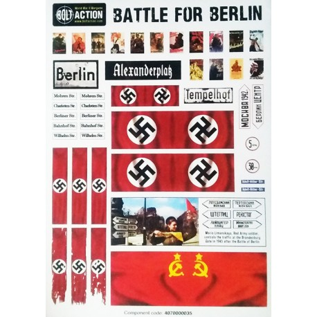 German A5 sheet with posters, road signs and flags 28mm WWII WARLORD -  Frontline-Games